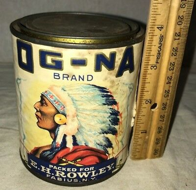 Antique Og-Na Sweet Corn Tin Vintage Grocery Food Can Indian Chief Fabius Ny Old