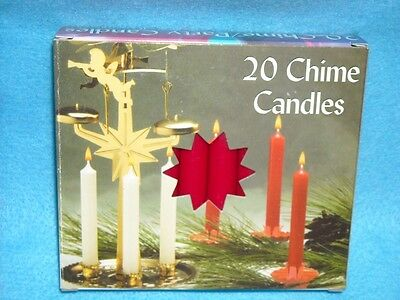 """Christmas Angel Chime Candles, Red, Box of 20, NIB, 1/2"""" by 4"""" tall"""