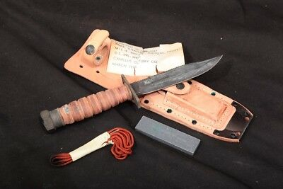 Camillus NY Navy Pilot's Survival Knife 2-1978 with Leather Scabbard March 1978