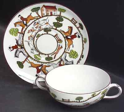 Crown Staffordshire HUNTING SCENE Cream Soup & Saucer 1214233