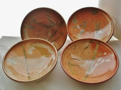 HAND PAINTED DESIGNS Signed SET of 4 ART POTTERY BOWLS Artistic Colors VERSATILE