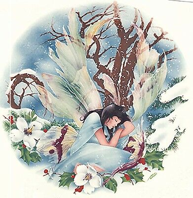 "Winter Forest Fairy 1 pc 7-1/4"" Waterslide Ceramic Decal Xx"