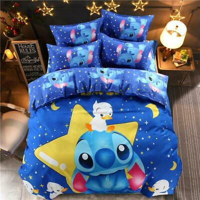 Kids colorful funny stitch cartoon bedding set queen full size duvet cover sh...