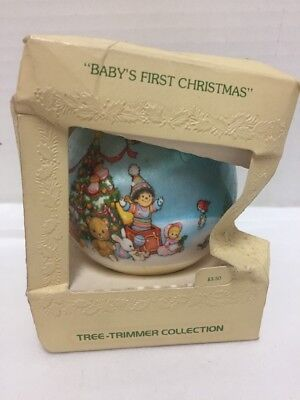 Hallmark Baby's First Christmas Satin Ornament 1979 Tree Trimmer Collection