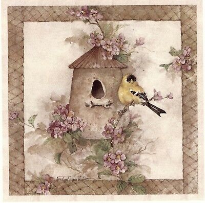 "Goldfinch Rustic Birdhouse Bird Flowers 1 pc 7-1//4/"" Waterslide Ceramic Decal Xx"