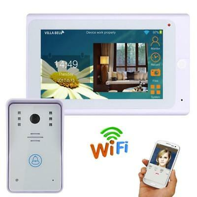 "Wired / Wireless 7"" TFT Wifi IP Video Door Phone Doorbell Remote APP unlock"