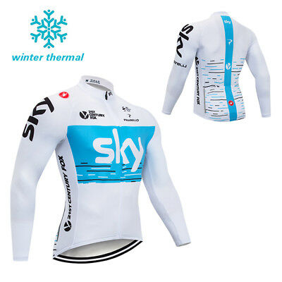 Thermal Winter Cycling Jersey Men's Fleece Bike Bicycle Long Sleeve Jersey S-3XL