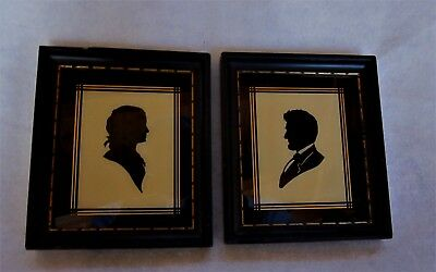 2 Vtg Abraham & Mary Todd Lincoln Framed Art Glass Silhouettes - C & A Richards