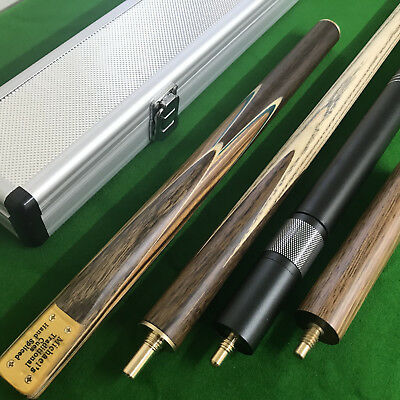 New 3/4 Jointed Handmade Ash Snooker Cue With Zebra wood Case Extension Rosewood