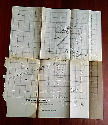Late 1800's Survey Sketch Map The Gallup District NM RR Spurs Mines Prospects