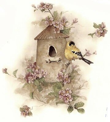"Goldfinch Rustic Birdhouse Bird Flowers 1 pc 7-1/4"" Waterslide Ceramic Decal Xx"