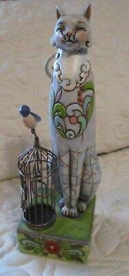 Jim Shore Heartwood Creek MILLY Cat Bird Birdhouse Figurine 4009506