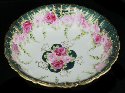 Antique Hand Painted Roses Moriage Jewel Beads Nippon Centerpiece Bowl Green