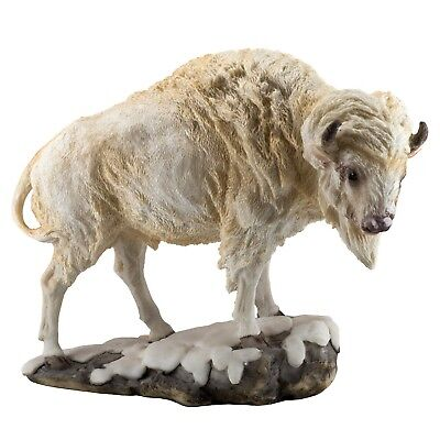 """White Bison Buffalo Bull Figurine 8.25"""" Long Realistic Resin New In Box!"""
