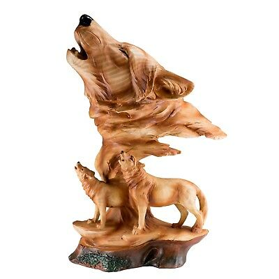 """Wolf Head Bust With Wolves Faux Carved Wood Look Figurine 12"""" High Resin New!"""
