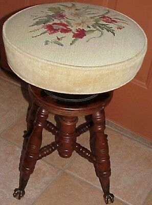 Gorgeous! Antique Claw Glass Ball Foot Padded Needlepoint Top Swivel Piano Stool