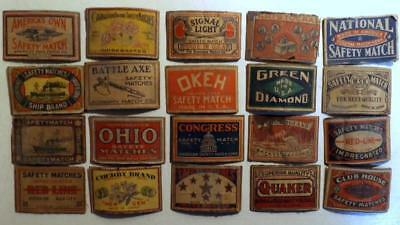 """20 Diff Antique Vtg Safety Match Box Labels 1½x2¼"""" Cut from Boxes c1920s-40s"""