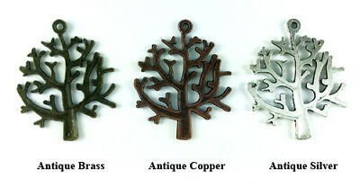 Antique Copper Brass Silver Plated Lead Safe 32x27mm Autumn Tree Charms Q20