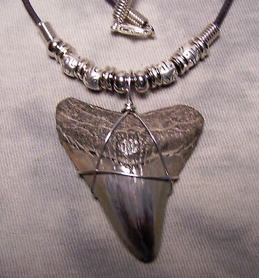 "1 7/8"" Megalodon  Shark Tooth Teeth Necklace Fossil Jaw Megalodon Fish Diver"