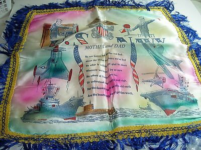 Vintage US Navy WWII Pillow Sham MOM & DAD POEM SWEETHEART AVIATION HELICOPTER