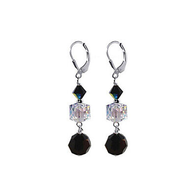 925 Silver Clear & Black Crystal Dangle Earrings Made with Swarovski Elements