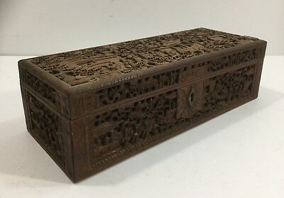 Antique Chinese Ching Dynasty Carved Wood Court Scene In Landscape Document Box
