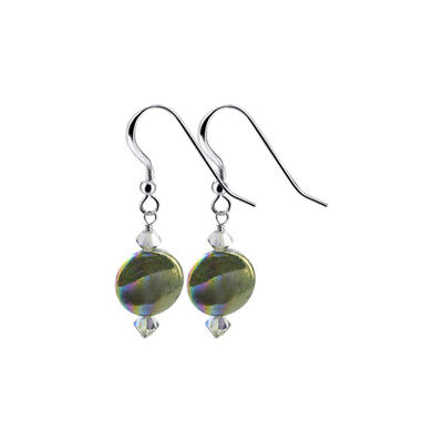 925 Silver Dyed Abalone 12mm Drop Earrings with Swarovski Elements Crystal