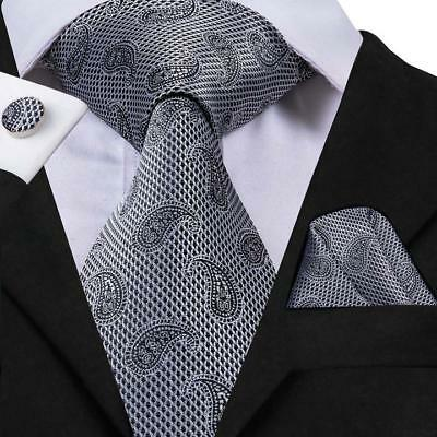 Classic Grey Paisley Mens Tie Necktie Silk Woven Set Wedding Formal Business New
