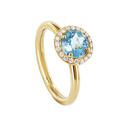 14k Yellow Gold 9mm Round Blue Topaz Gemstone with Diamond accents Ring Size 6
