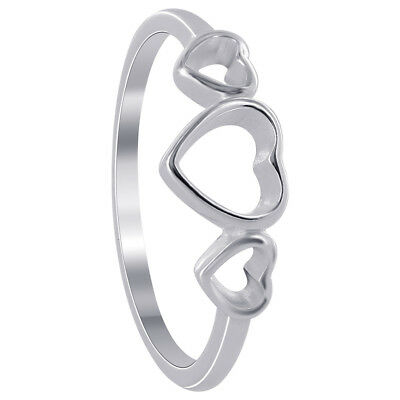 925 Sterling Silver 4mm and 6mm Triple Open Heart Ring Size 5