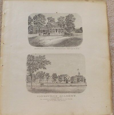 1866 NY Jonesville Academy Northumberland Carrigans Res Saratoga Co frm Atlas
