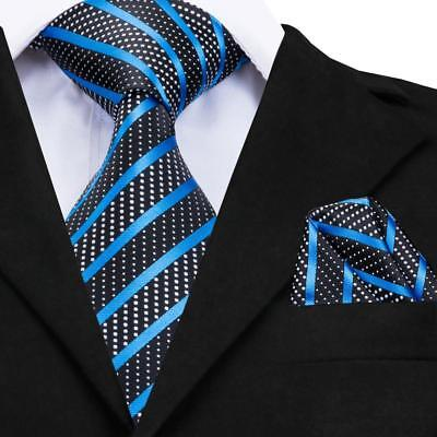 USA Classic Men's Silk Tie Black Blue Striped Business Necktie Hanky GP-007