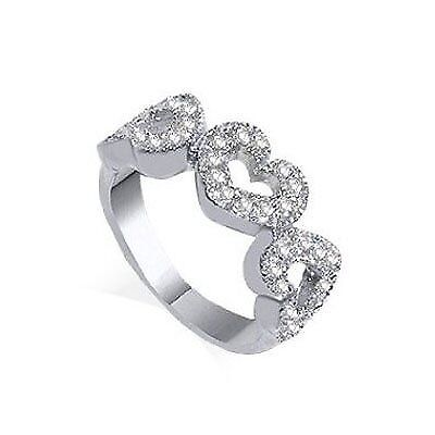 925 Sterling Silver Simulated CZ Cubic Zirconia Triple Open Heart Ring Size 5