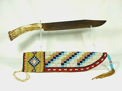 Large Native American BEADED KNIFE SHEATH & STAG Handle Knife - Circa 1880's.