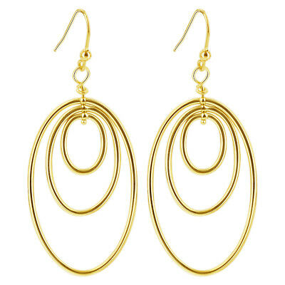 10k Yellow Gold Triple Layer Oval 25mm Drop Earrings Made in Italy #UE069