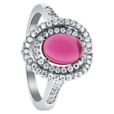 Rhodium Plated Sterling Silver Oval Ruby July Birthstone Ring Size 6