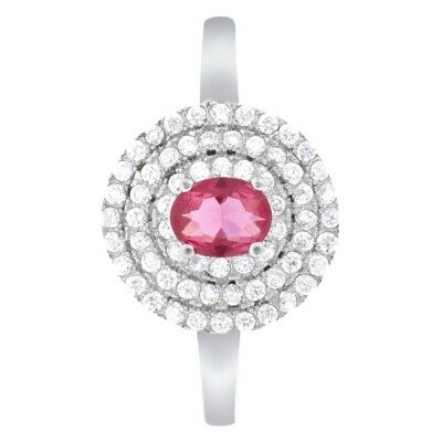 Rhodium Plated Sterling Silver Oval Ruby July Birthstone Ring Size 8
