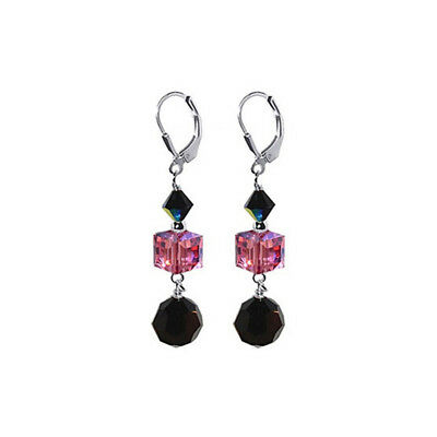 925 Silver Pink & Black Crystal 2 inch Dangle Earrings with Swarovski Elements