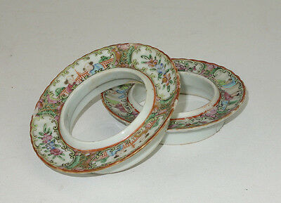 Rare Pair Of Antique Rose Medallion Teacup Holders