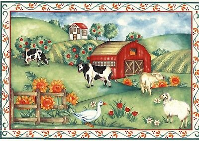 "Farm Barn Cow Sheep Flowers 1 pc 7-1/4"" X 10-1/4"" Waterslide Ceramic Decal Xx"