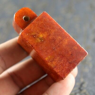 2.4'' Chinese old orange jade collection handmade carved ancient words seal 0904