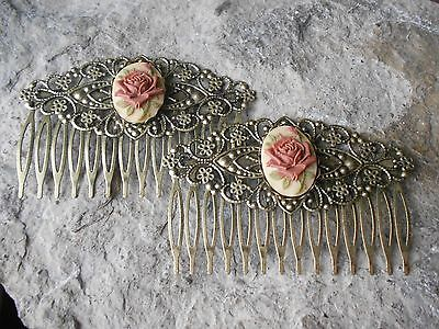 Pair Of Chocolate Brown Rose Cameo Bronze Filigree Hair Combs- Victorian