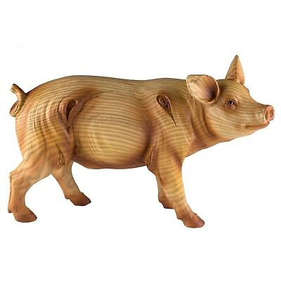 Pig Faux Carved Wood Look Figurine Resin Statue 7 Inch Long New In Box!