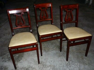 Set 3 Wood Vintage Antique MID CENTURY STAKMORE Harp Lyre Folding Dining Chairs
