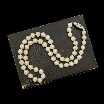 Antique Vintage Art Deco Sterling Silver Freshwater Pearl Bead Filigree Necklace