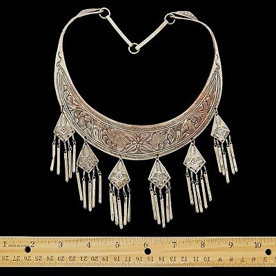 Antique Vintage Art Deco Sterling Silver Plated Chinese Tibetan Wedding Necklace