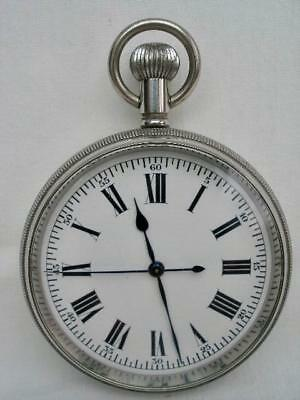 Superb Swiss Antique Centre Seconds Goliath Nickel Cased Pocket Watch.