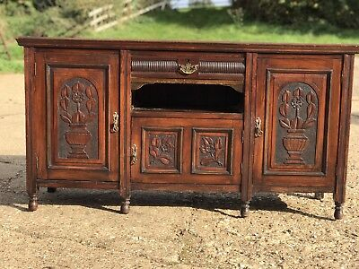 Edwardian Antique Mahogany Carved Sideboard Drawers Cupboard