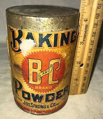 Antique B&c Baking Powder Tin Vintage Terre Haute In Coffee Spice Mills Can Old