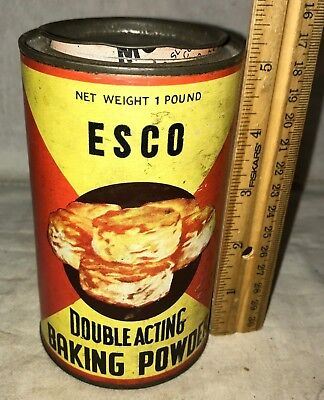 Antique Esco Baking Powder Tin Vintage Cincinnati Oh Coffee Grocery Store Can